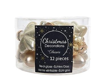 Christbaumkugeln Cremefarben.12 Sterne Weihnachtskugeln Christbaumkugeln Christbaumschmuck Champagner Creme Aus Glas 40 Mm Glanz Und Matt