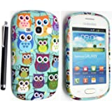 SAMSUNG GALAXY FAME S6810 PRINTED SILICONE GEL PROTECTION CASE COVER + STYLUS GSDSTYLEYOURMOBILE{TM} (Design 01 Multi Owls)