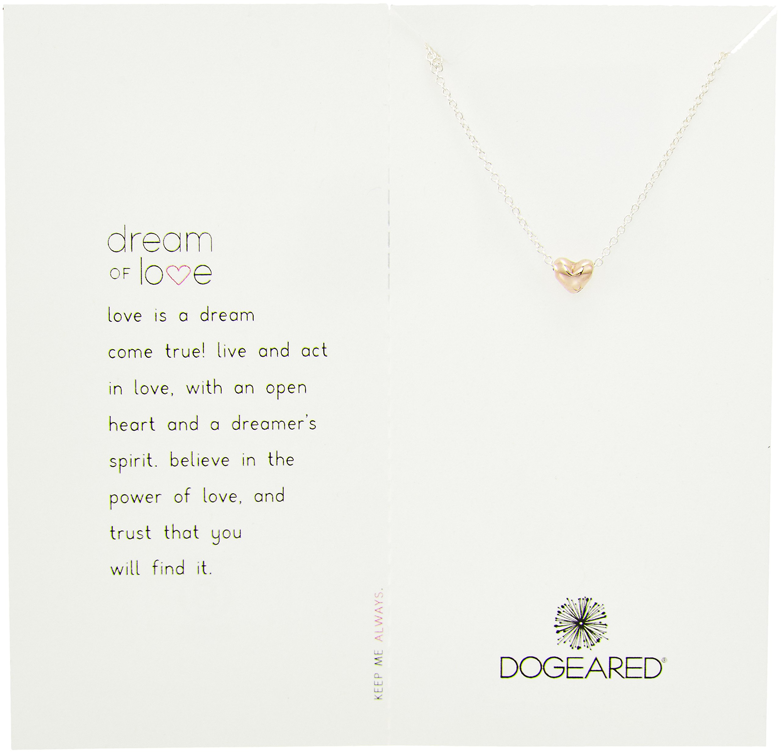 Dogeared Rose Gold Dream of Love Sterling Silver Chain Necklace, 16.5''+2'' Extender