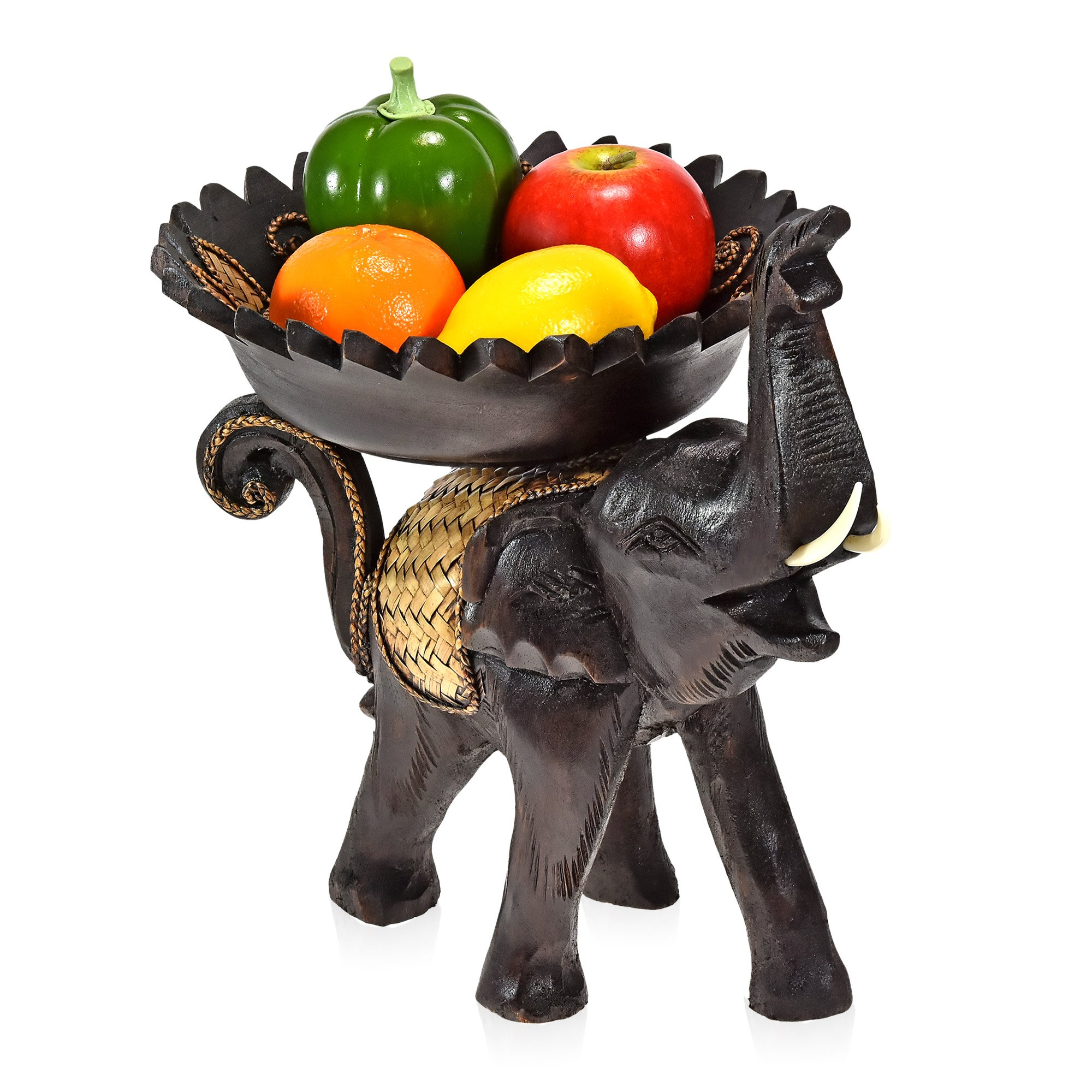 AeraVida Cheerful Elephant with Leaves Carved Wooden Tray by AeraVida (Image #5)