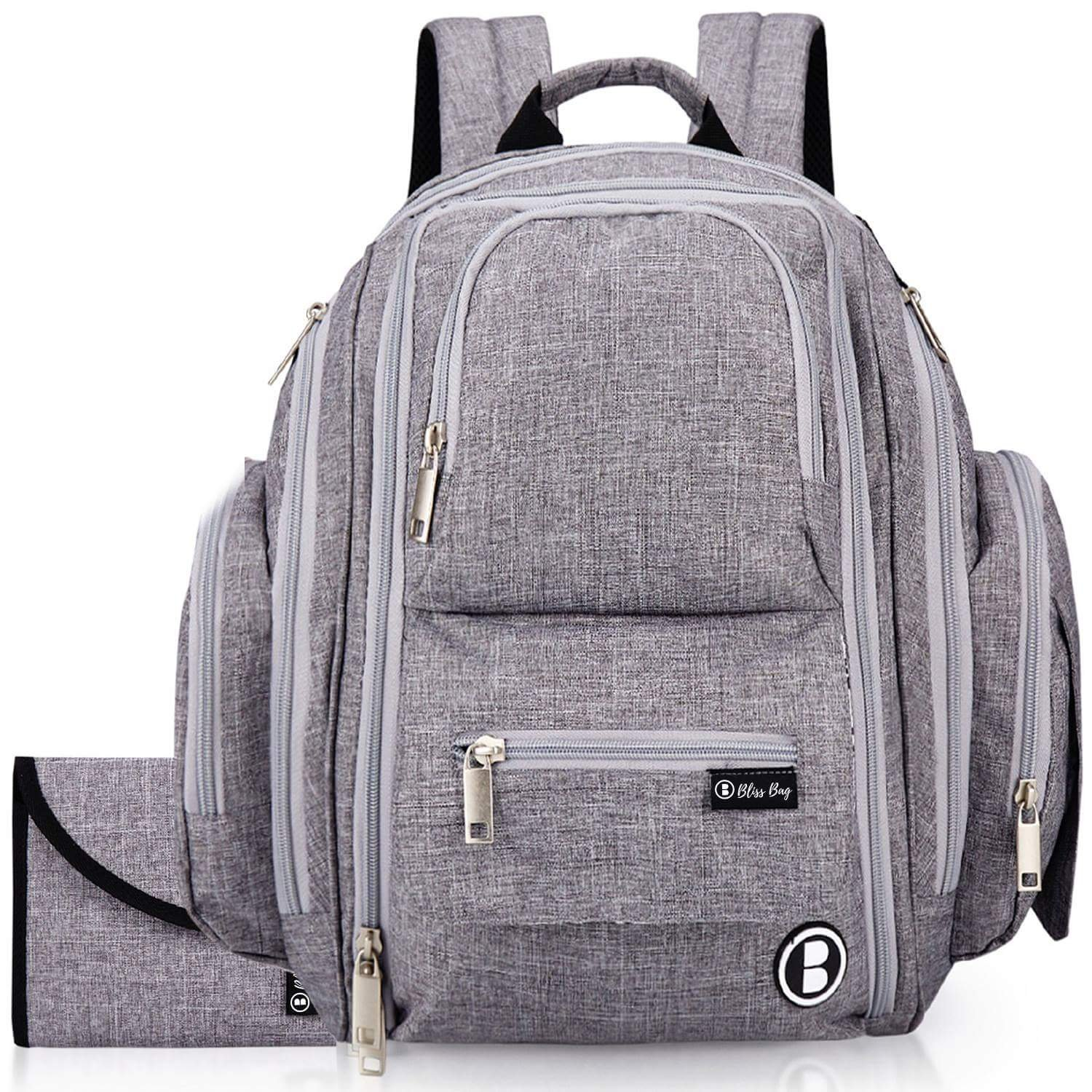 Diaper Backpack by Bliss Bag for Girls, Boys, Twins, Infants, Moms & Dads. Includes Travel System/Organizer, Changing Pad, Stroller Straps, Insulated Pockets, Water Resistant Fabric. (Gray)