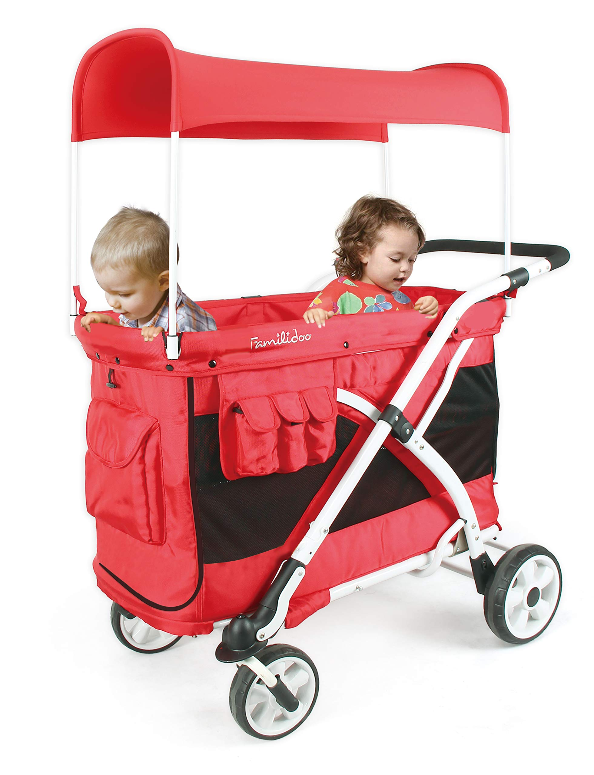 Familidoo Multi-Purpose 6 in 1 Large Twin Size Toddler Baby Folding Stroller Chariot Wagon, Red by FAMILIDOO (Image #7)