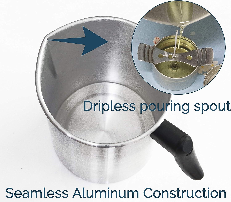 Aluminum Construction Candle Making Pitcher Dripless Pouring Spout Wax Melting Pot Haudang 4 Pounds Candle Making Pouring Pot