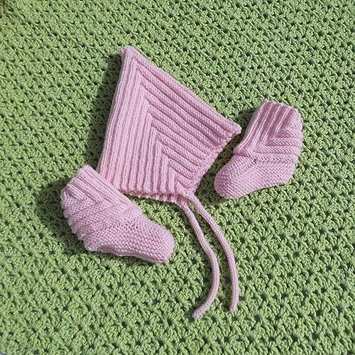 Zwergenmütze Pixie Mütze Babyschuhe Handgestrickt Merino Set