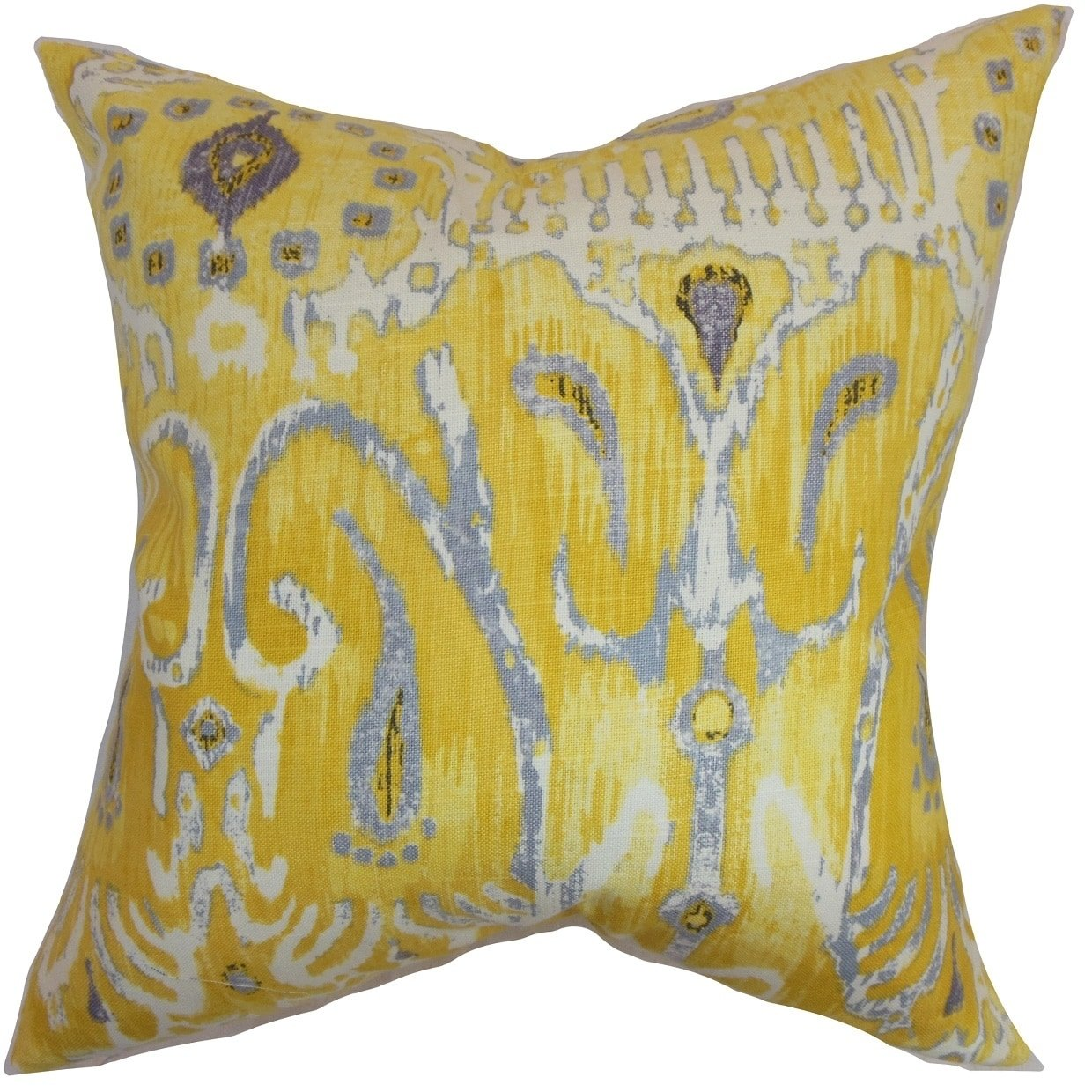 The Pillow Collection Haestingas Ikat Floor Pillow Yellow by The Pillow Collection
