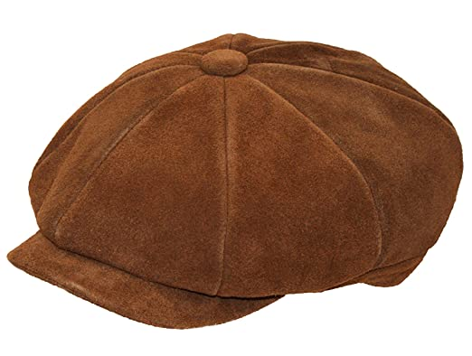 13cd5380b5c Mens Real Suede Leather 8 Panel Newsboy Baker Boy Gatsby Flat Cap (Small