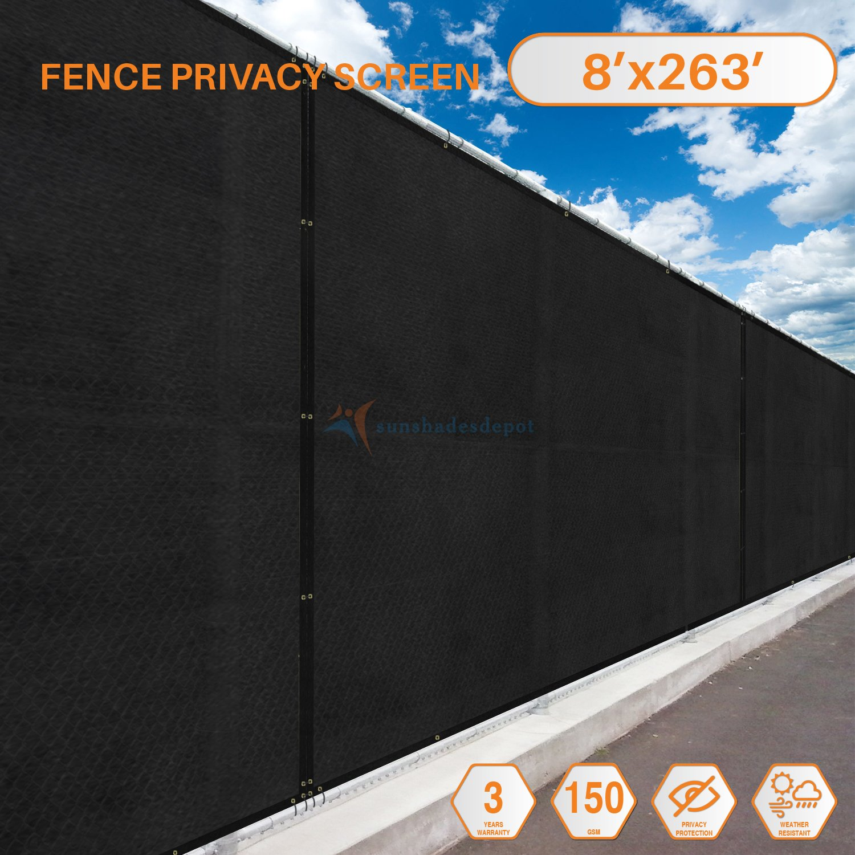 ソリッドブラックCommercialプライバシーフェンス画面真鍮グロメット3年保証130 gsmカスタムなサイズ) Length: 263 Feet Black; Height 8 Feet B072NRZBCV