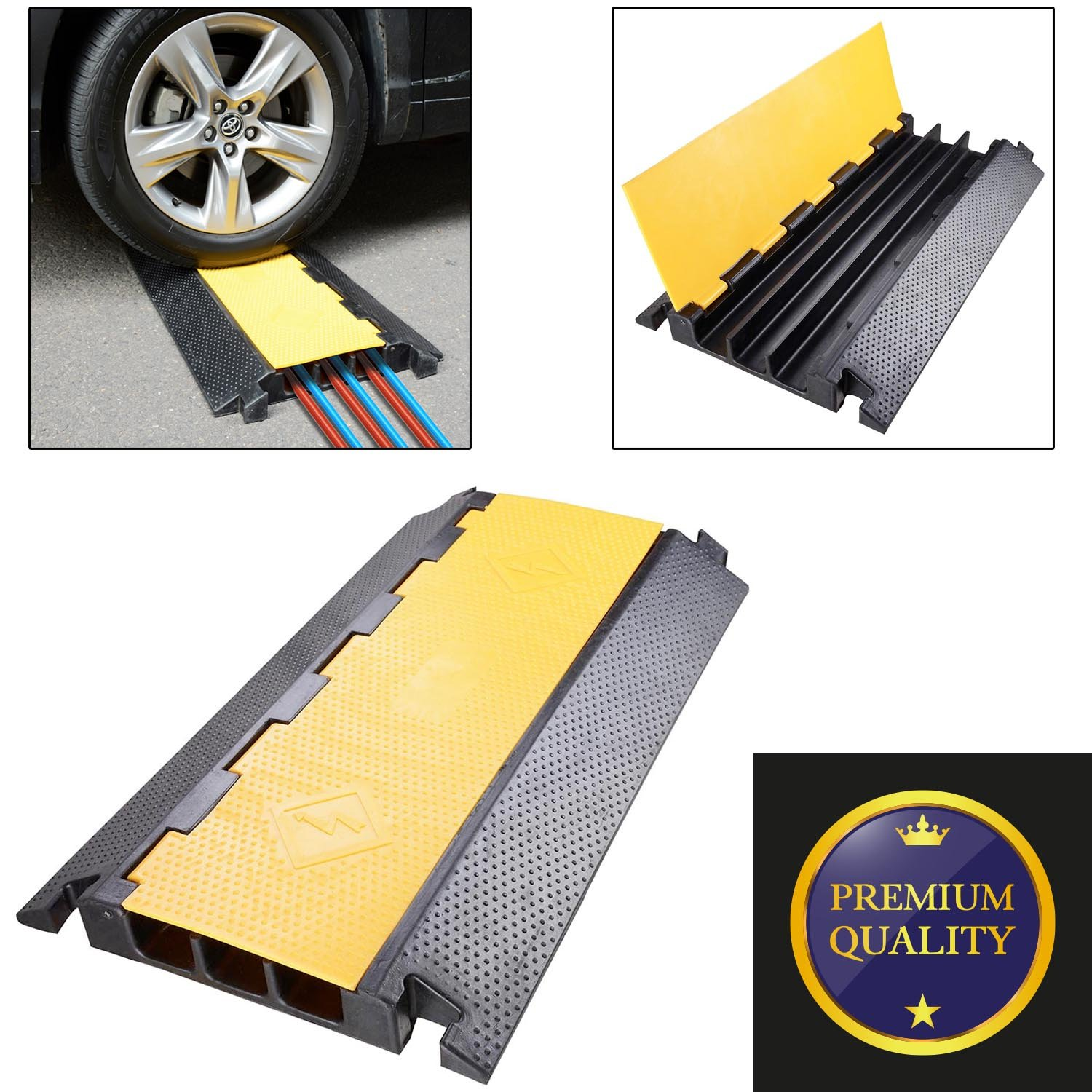 GC Global Direct Channel Warehouse Cable Protector Ramp Traffic Wire Cover (3-channel black/yellow) by GC Global Direct