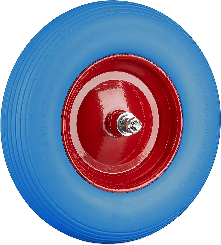 Relaxdays Rueda Carretilla 4.80 4.00-8 con Eje Azul-Rojo hasta 100 kg Goma