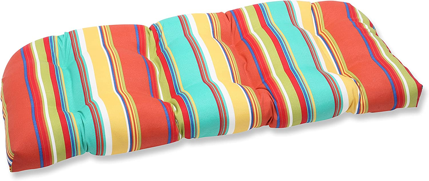 Pillow Perfect Outdoor Westport Spring Wicker Loveseat Cushion, Multicolored