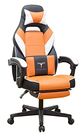 TOPSKY High Back Racing Style PU Leather Executive Computer Gaming Office Chair Ergonomic Reclining Design with Lumbar Cushion Footrest and Headrest New Black Orange