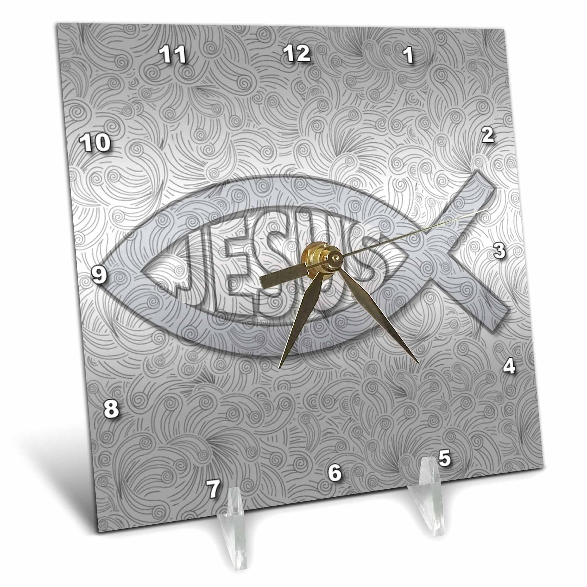 3dRose Christian Fish Symbol Jesus Hues Religious Faith Desk Clock, 6x6, Silver