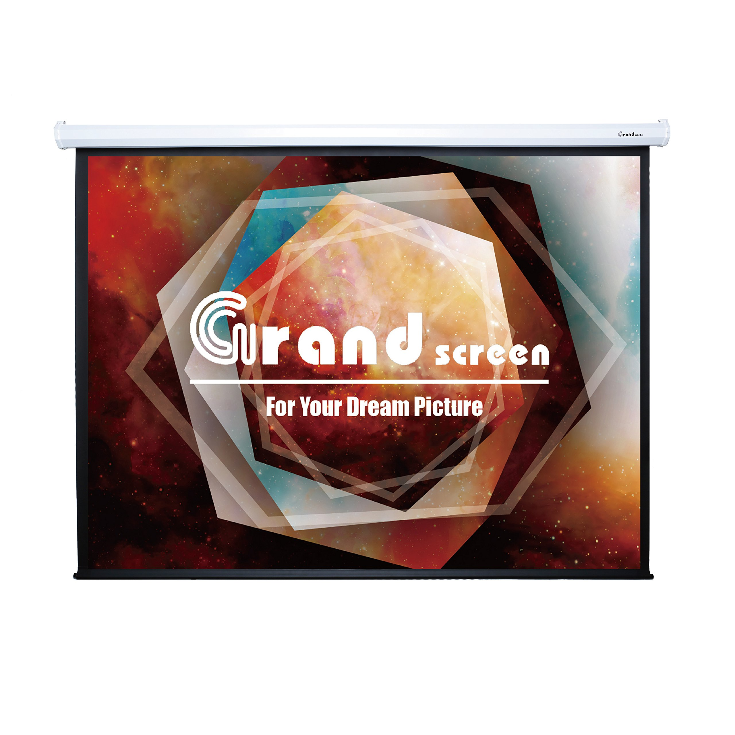 Grand Screens Classical HD+ , 100-inch Diag 16:9, Electric Motorized Drop Down Projector Screen, 8JGZ100H