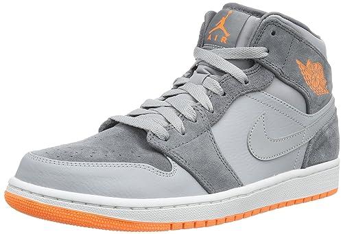 415fd3b5bf2a Jordan Nike Men s Air 1 Mid Wolf Grey Atomic Orange Cl Gry Basketball Shoe