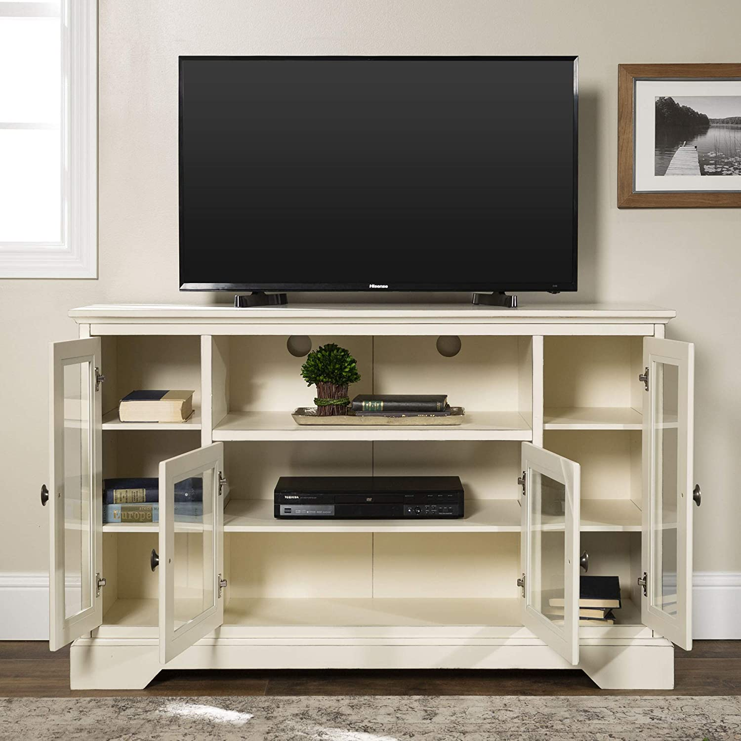 Home Accent Furnishings Romeo 52 Inch Wide Highboy Television Stand in Antique White