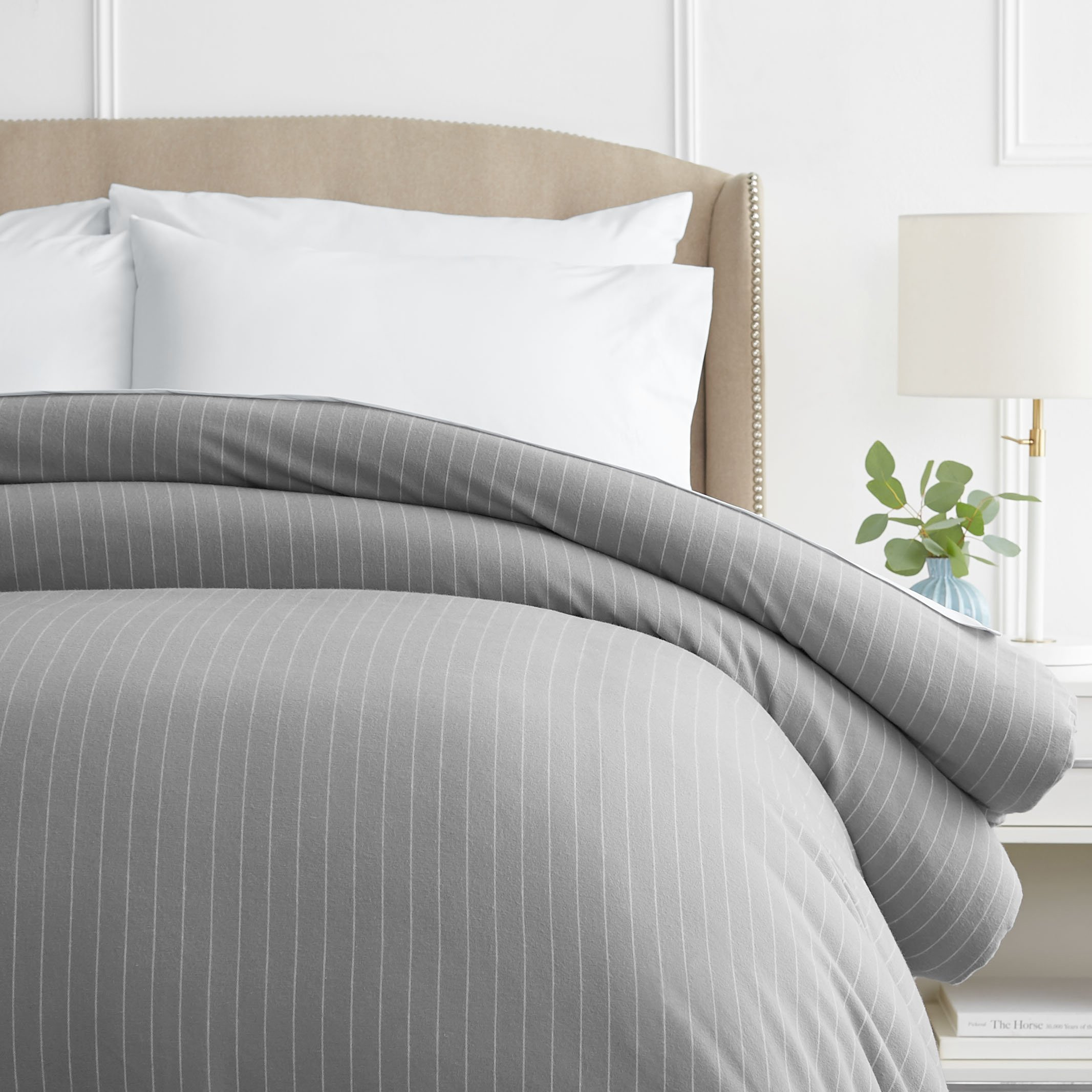 Pinzon 160 Gram Pinstripe Flannel Duvet Cover - Full/Queen, Grey Pinstripe