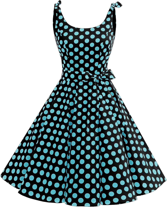 TALLA XS. Bbonlinedress Vestidos de 1950 Estampado Vintage Retro Cóctel Rockabilly con Lazo Black Blue Bdot XS