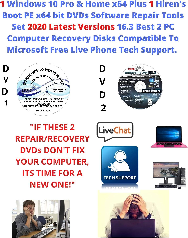 Get 1 Windows 10 Pro & Home Plus 1 Hiren's Boot PE x64 bit DVDs Software Repair Tools Suite 2020 latest version 16.3 Best 2 PC Windows Computer Recovery Disks PC Compatible Free Phone Tech Support.