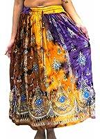 Colorful Womans signore indiano Boho Hippie zingaresco paillettes estate Sundress maxi Gonna danza del ventre