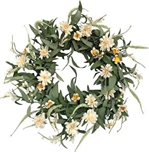 NeoL'artes 20inch Magnolia Spring Summer Grapevine Wreath Year Around, Farmhouse Wreaths for Front Door Outside Home Decor
