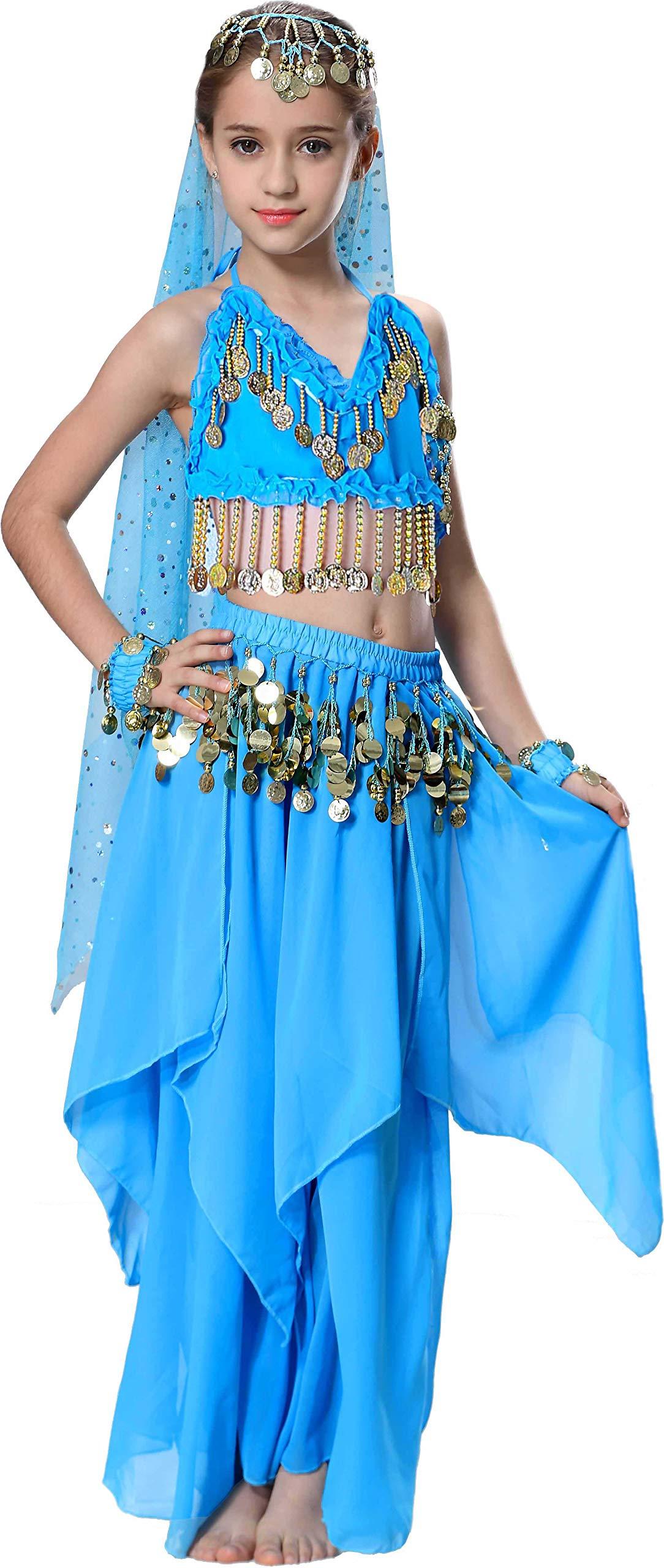 Toddler Aladdin Costume Kids Jasmine Genie Halloween Outfit Size 4t 4 5 6 7 8 10 12 14 16 Blue