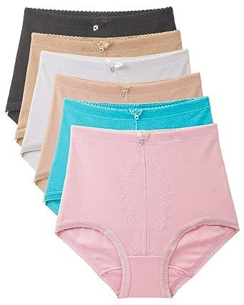 b07285305540 Women's 6 Pack Strechy Cotton High Waist Comfort Brief Underwear (medium)