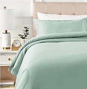AmazonBasics 400 Thread Count Cotton Duvet Cover Set with Sateen Finish - Twin, Seafoam Green