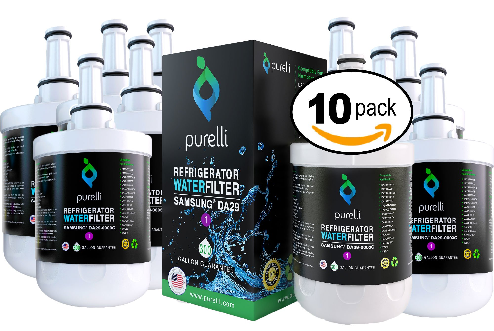New Samsung DA29-00003G 10-Pack Aqua Pure Plus MADE IN USA Premium Replacement Filter. Also replaces WF289, ES-1 and Samsung HAFCU1 Refrigerator Water Filters by Purelli