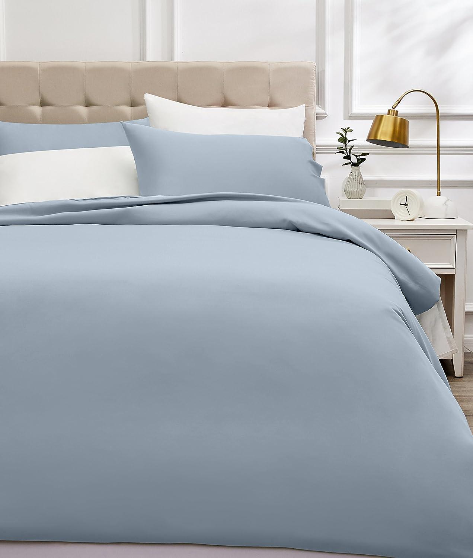AmazonBasics - Juego de funda nórdica de satén de algodón de 400 hilos - 260 x 220 cm/ 50 x 80 cm x 2, Azul humo