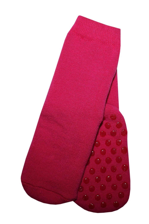 Weri Spezials Unisexe Bebes et Enfants Frotee-ABS Anti-Glissement Pantoufle Chaussons Chaussettes Rose