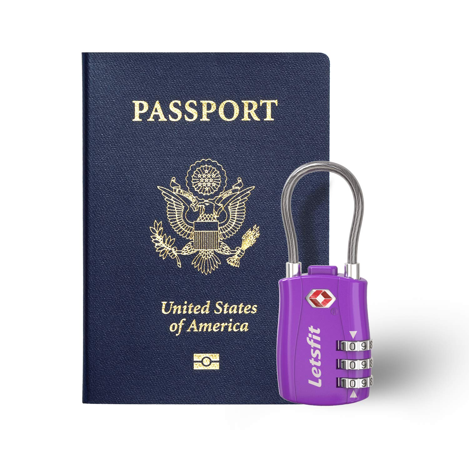TSA Approved Luggage Locks, Letsfit Travel Combination Cable Luggage Locks, Easy Read Dials, Alloy Body - Ideal for Travel, Lockers, Bags, 4 Pack Purple