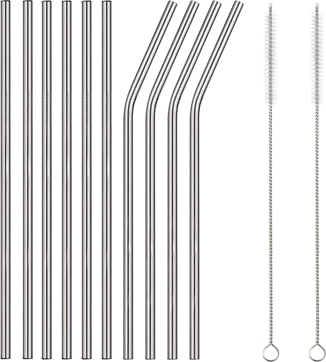 HUAFUCI 12-Pack Stainless Steel Metal Straws Reusable with 2 Cleaning Brushes - Curved Drinking Straws for 20oz Tumblers Dishwasher Safe (Silver)