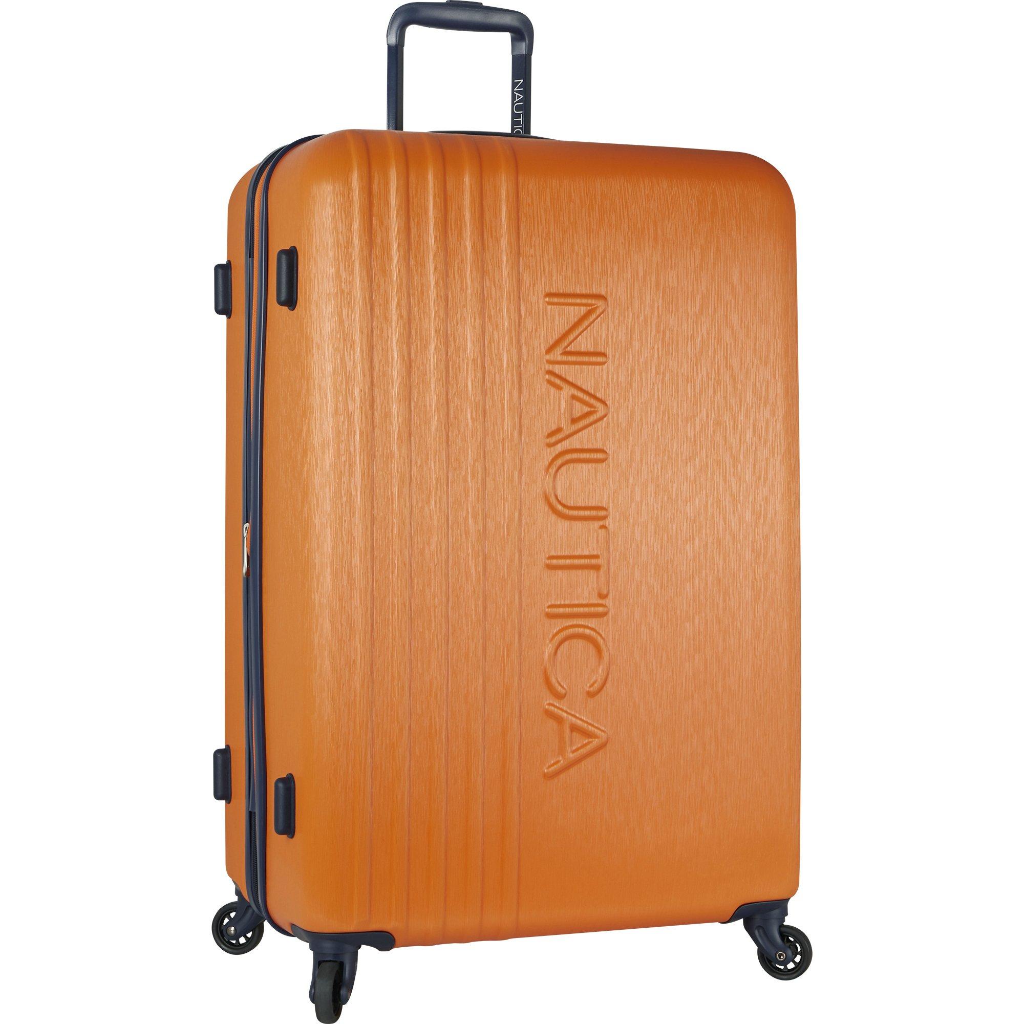 Nautica Ahoy Hardside Expandable 4-Wheeled Luggage-28 Inch Checked Size, Classic Orange