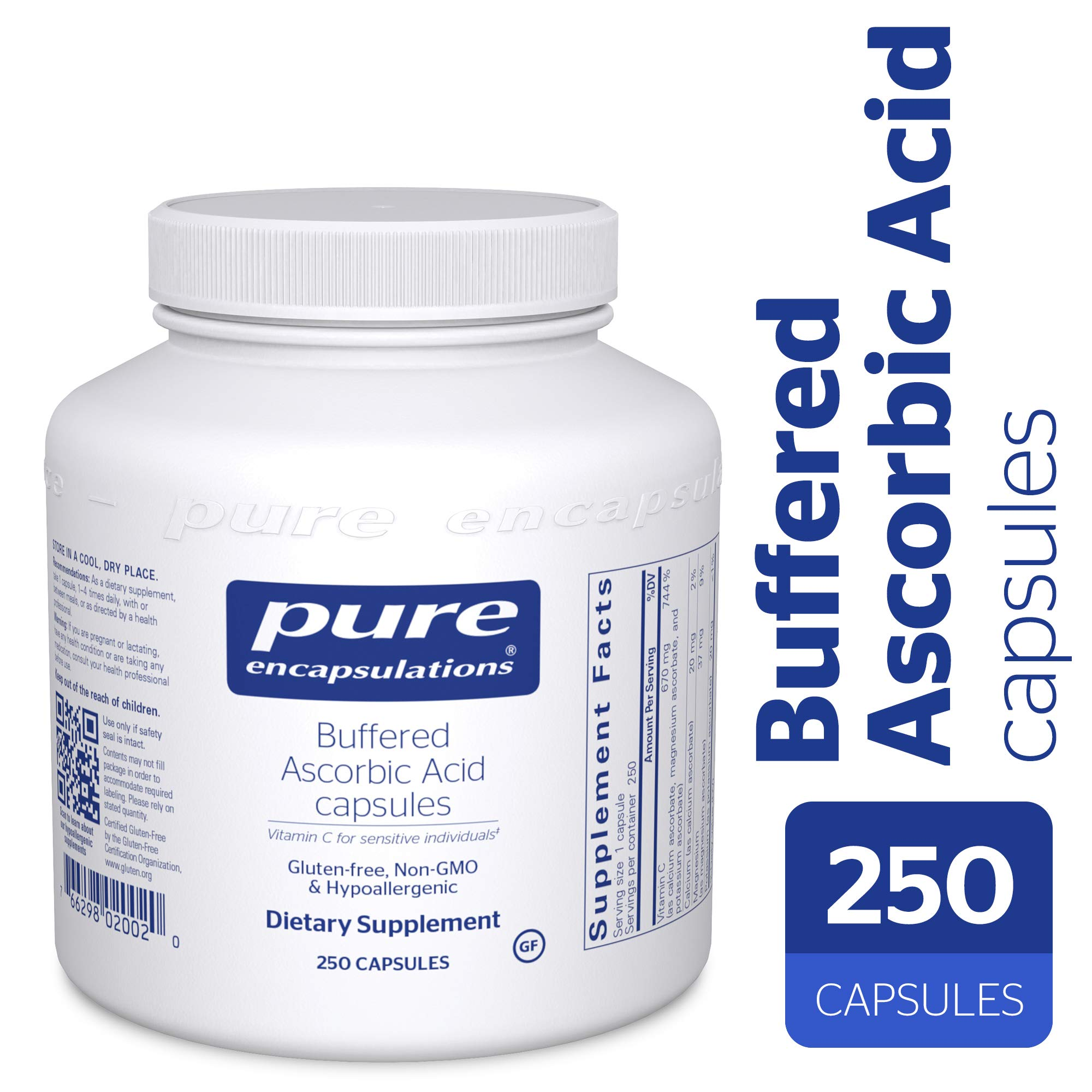 Pure Encapsulations - Buffered Ascorbic Acid - Vitamin C for Sensitive Individuals - 250 Capsules by Pure Encapsulations