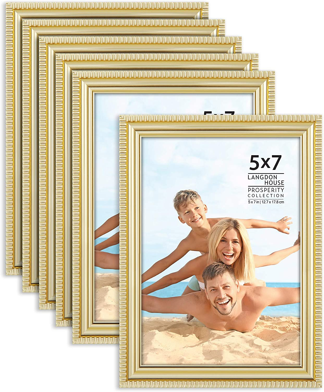 Wall Mount or Table Top 13x18 cm Gold, 6 Pack Picture Frames Contemporary Frame Set Prosperity Collection Langdon House 5x7