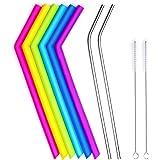 CORNERJOY Big Reusable Silicone Drinking Straws for 30 oz Tumbler RTIC/Yeti & Stainless Steel Straws Complete Bundle - 6…