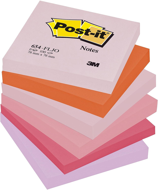 Post-it Post-it Post-it 654FLJO Haftnotiz Happy Collection, 76 x 76 mm, 70 g qm, 5 farbig, 100 Blatt, 6 Block, blanko - in weiteren Größen verfügbar 0e2902