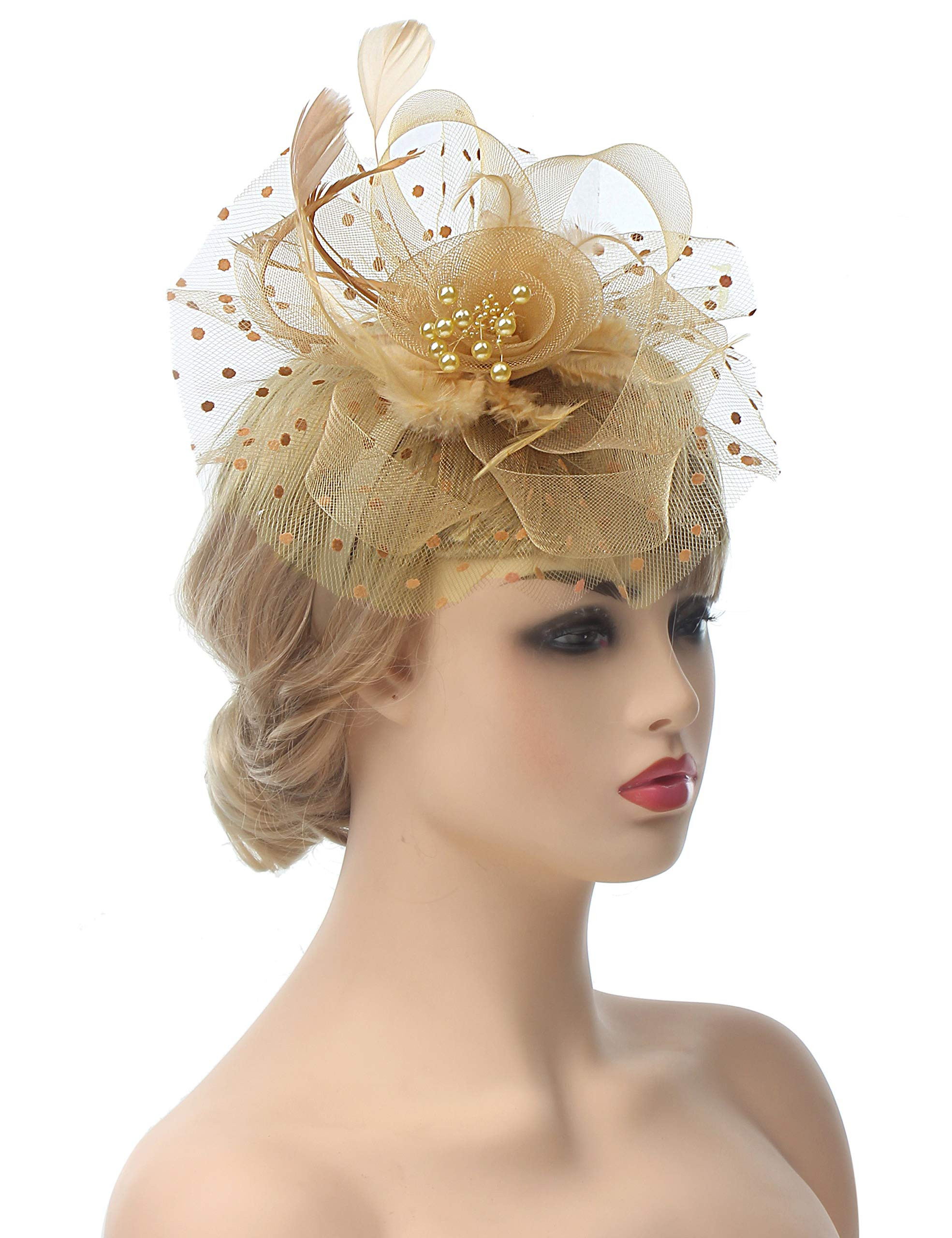 Myjoyday Fascinators Hat for Women Tea Party Headband Kentucky Derby Wedding Cocktail Flower Mesh Feathers Hair Clip (Khaki)