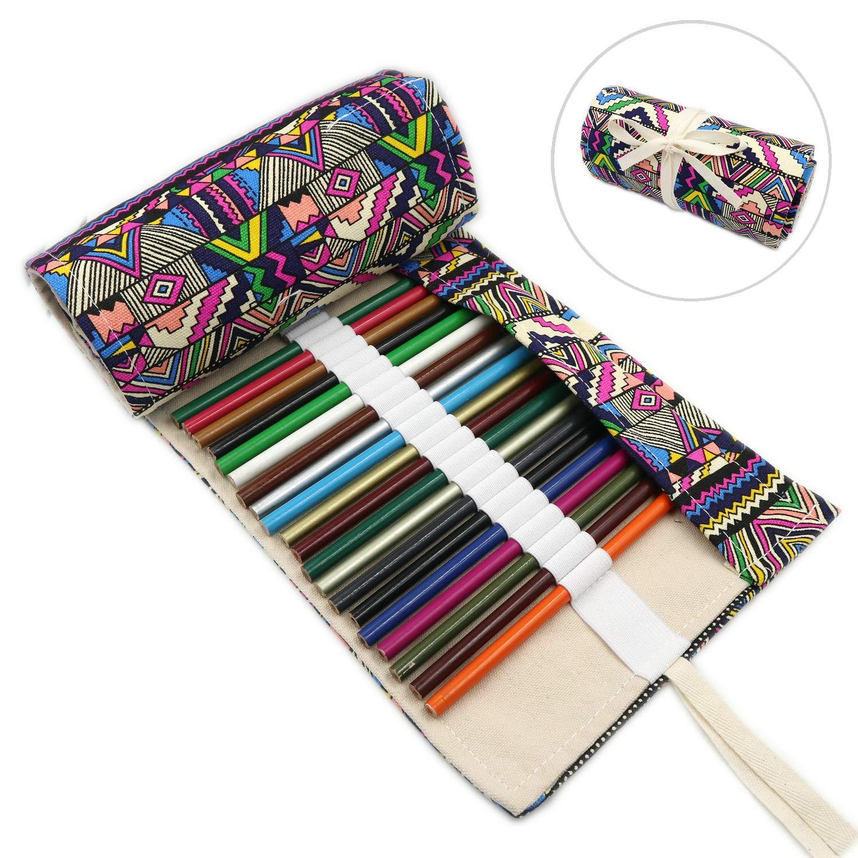(72, Bohemian) - 72 Slots Coloured Pencils Roll Wrap Bag Pouch Portable Pencils Holder Pen Organiser for Artists Students Painters (Bohemian, 72) 72 Bohemian B07CTHZ5PY