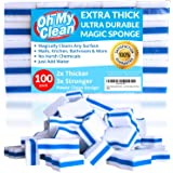 (100 Pack) Extra Durable Magic Cleaning Eraser Sponge - 2x Thick, 3x Stronger Melamine Foam Sponges - Multi-Purpose Power Scrubber - Bathroom, Kitchen, Floor, Toilet, Baseboard, Wall Cleaner