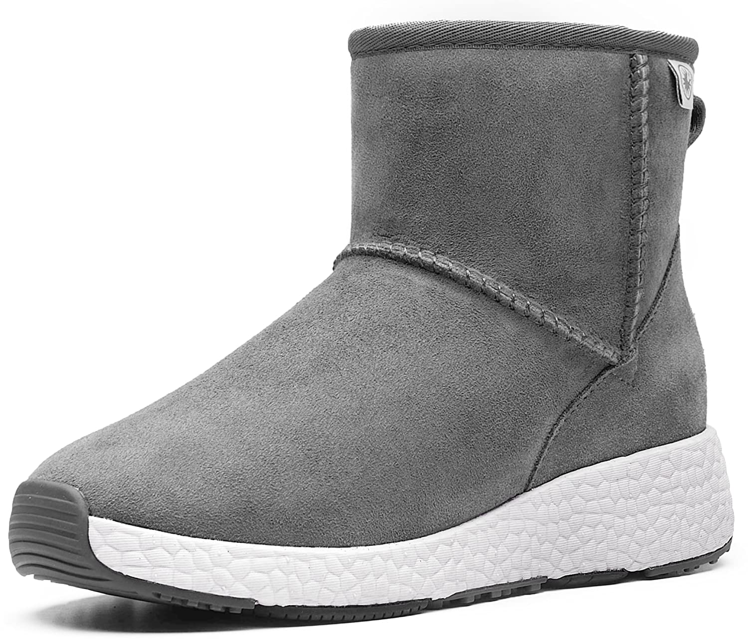 AU&MU Women's Full Fur Sheepskin Suede Winter Snow Boots B074Z12JDZ 4.5 B(M) US|Grey 5