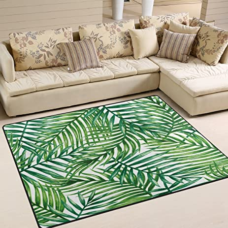 ALAZA Tropical Palm Tree Leaves Watercolor Area Rug Rugs For Living Room Bedroom 7 X