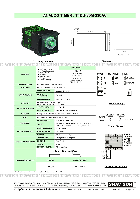 Shavison Analog Timer T4du 60m 230ac On Delay Interval Supply Digital Stopwatch 060sec Circuit 230v Ac 8 Time Ranges Panel Mount Industrial Scientific