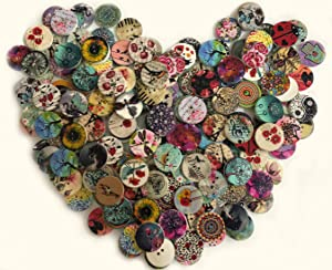 200Pcs Wood Buttons for Crafts, 20mm Vintage Buttons Mixed Pattern Wooden Buttons Round Flower Buttons with 2 Holes for DIY Sewing Craft Decorative (Natural)