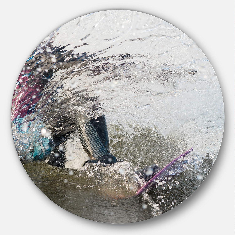 Designart Guy on a Wakeboard Landscape Digital Metal Wall Art - Disc of 23 inch, 23