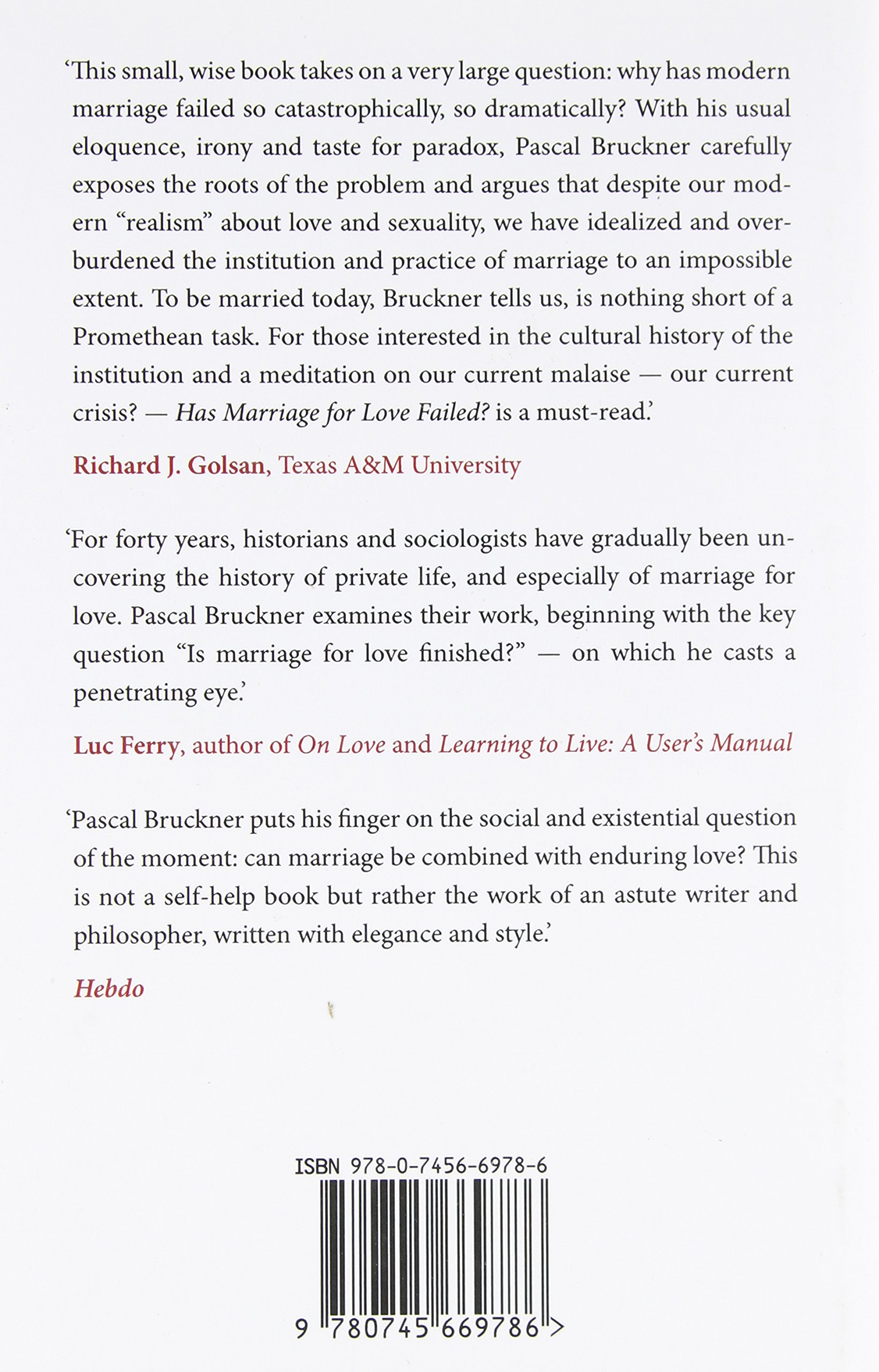 Has Marriage For Love Failed?: Pascal Bruckner: 9780745669786: Amazon:  Books
