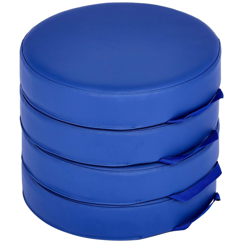 AmazonBasics Floor Cushions for Kids, 3 Foam, Round, Blue, 4-Piece