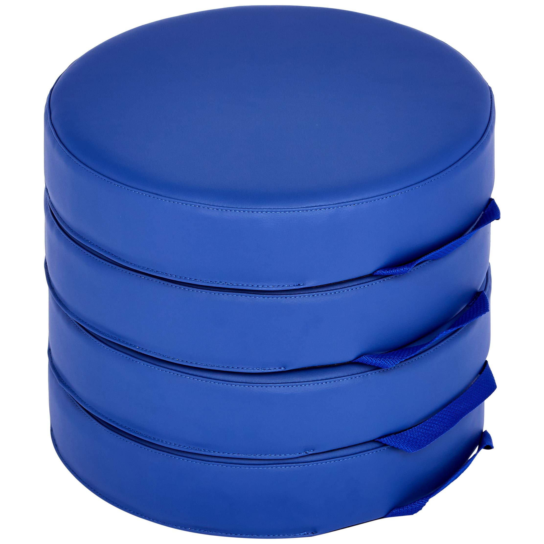 "Amazon Basics Floor Cushions for Kids, 3"" Foam, Round - Blue, 4-Pack"