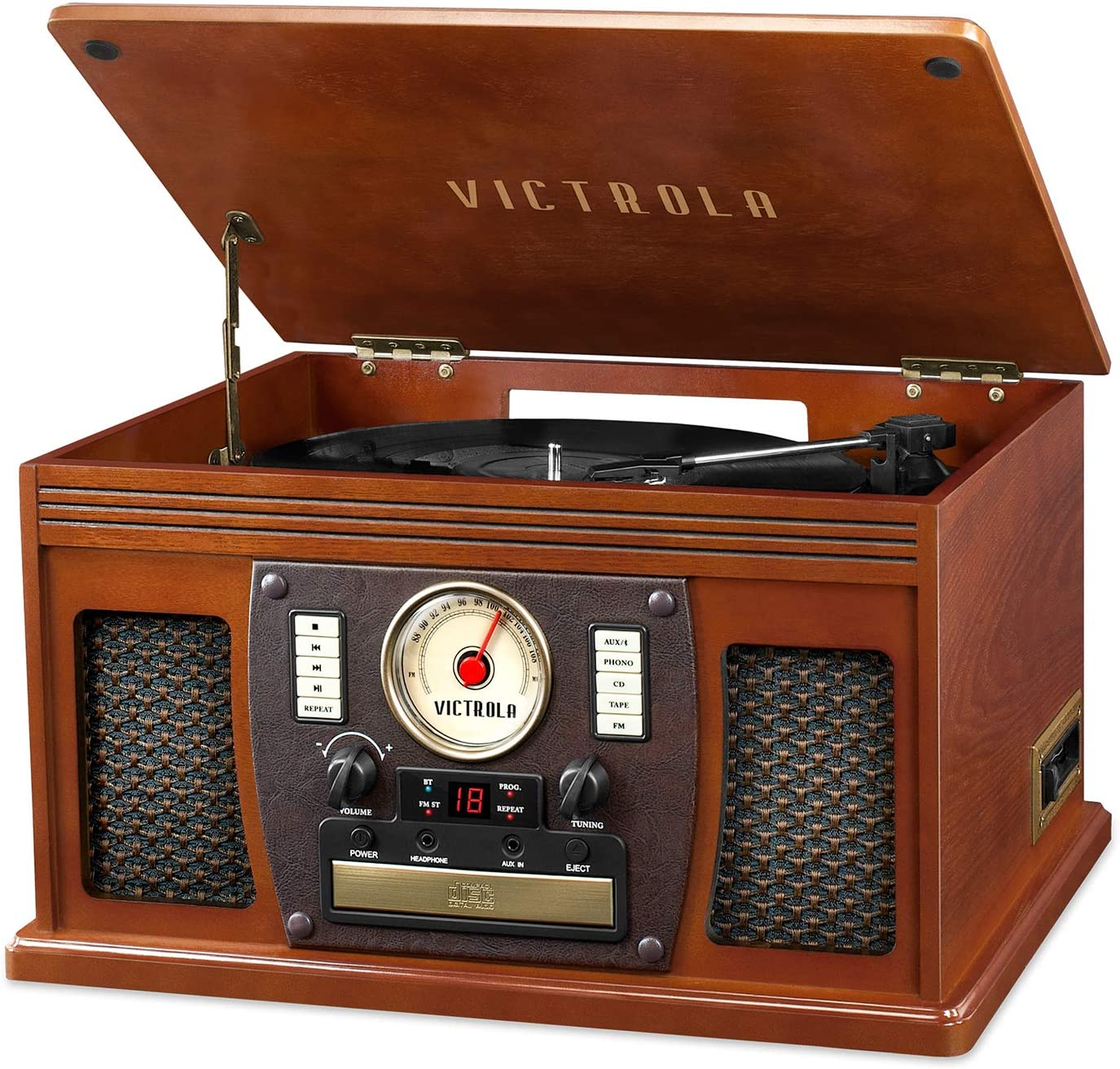 Victrola's 7-in-1 Sherwood Bluetooth Recordable Record Player with 3-Speed Turntable, CD, Cassette Player and FM Radio