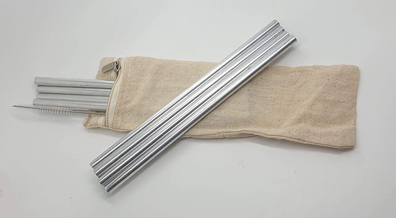 Various VIE Aluminium Reusable Drinking Straws-20cm One Set of 4 with Cleaning Brush /& a Zipper Cotton Bag